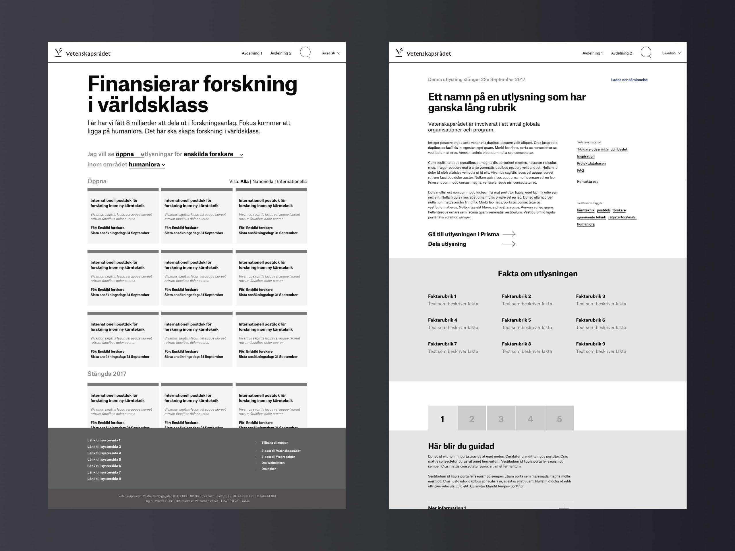 Wireframes done for Vetenskapsrådet page types