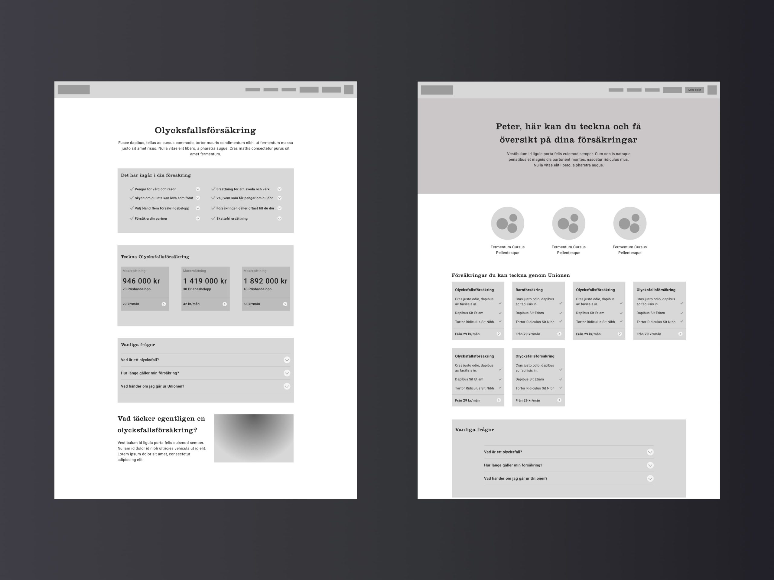 Wireframes of different pagetypes